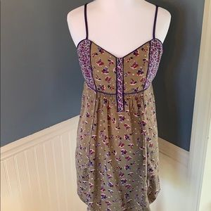 Ecote Urban Outfitters Olive Floral Boho Dress Med